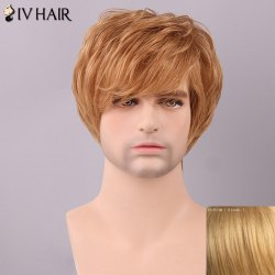 Siv Hair Men's Fluffy Straight Side Bang Human Hair Wig -
