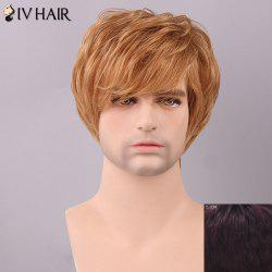 Siv Hair Men's Fluffy Straight Side Bang Human Hair Wig - RED MIXED BLACK