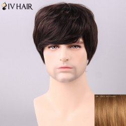 Siv Hair Men's Trendy Side Bang Human Hair Wig - DARK ASH BLONDE