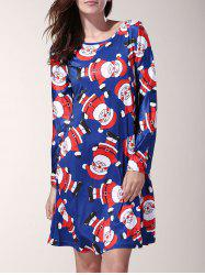 Chic Long Sleeve Cartoon Santa Printed Mini Dress For Women -