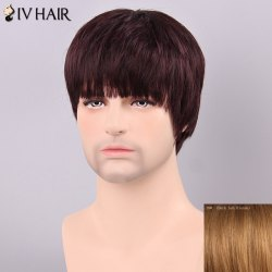 Siv Hair Men's Straight Full Bang Human Hair Wig
