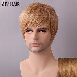 Siv Hair Fluffy Straight Side Bang Human Hair Wig - DARK ASH BLONDE