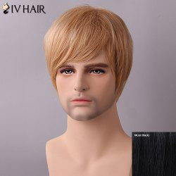 Siv Hair Fluffy Straight Side Bang Human Hair Wig - JET BLACK
