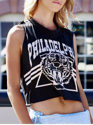 Plus Size Scoop Neck Tiger and Letter Print Cotton Women's Crop Top Tank Top - DEEP GRAY