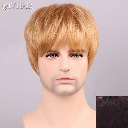 Siv Hair Shaggy Full Bang Human Hair Men's Wig - RED MIXED BLACK