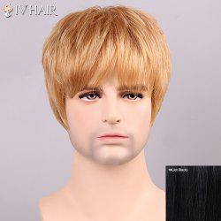 Siv Hair Shaggy Full Bang Human Hair Men's Wig