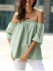 Stylish Off-The-Shoulder Half Sleeves Solid Color Blouse For Women -