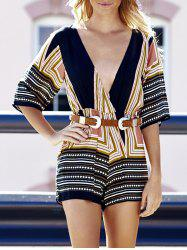 Plunging Neck 3/4 Sleeve Colored Striped Romper For Women -