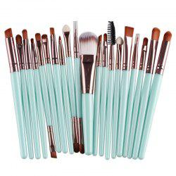 Stylish 20 Pcs Multifunction Long Plastic Handle Nylon Makeup Brushes Set - GREEN