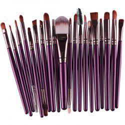 Stylish 20 Pcs Multifunction Long Plastic Handle Nylon Makeup Brushes Set - PURPLE