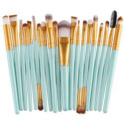 Stylish 20 Pcs Plastic Handle Nylon Makeup Brushes Set - GREEN
