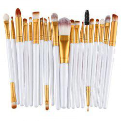 Stylish 20 Pcs Plastic Handle Nylon Makeup Brushes Set - WHITE