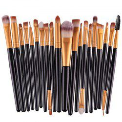 Stylish 20 Pcs Plastic Handle Nylon Makeup Brushes Set - BLACK