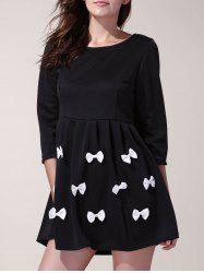Fashionable Women's 3/4 Sleeve Scoop Neck Bowknot Decorated Dress -
