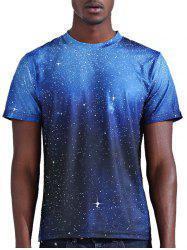 Abstract 3D Star Print Round Neck Short Sleeves T-Shirt For Men