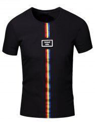 Personality Men's Round Neck Colored Stripes Center Line Short Sleeve T-Shirt -
