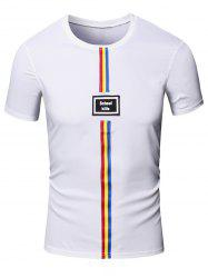 Personality Men's Round Neck Colored Stripes Center Line Short Sleeve T-Shirt