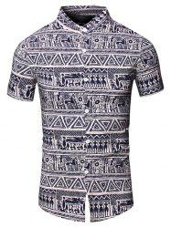 Turn-Down Collar Totem Geometric Printed Short Sleeve Shirt For Men