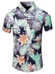 Turn-Down Collar Flower and Leaf Printed Short Sleeve Shirt For Men -