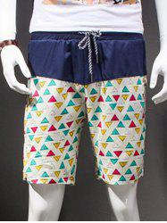 Modish Straight Leg Printing Drawstring Linen Shorts - COLORFUL GEOMETRIC 3XL