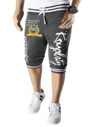 Vogue Beam Feet Letters Pattern Rib Spliced Lace-Up Capri Pants Jogger Shorts For Men -