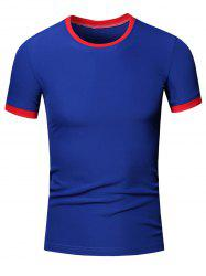 Simple Round Neck Color Block Short Sleeve Men's T-Shirt