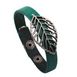 Punk Hollowed Leaf PU Leather Bracelet -
