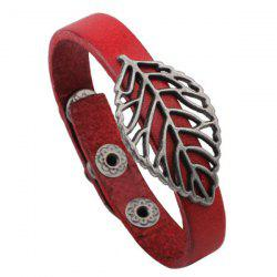 Punk Hollowed Leaf PU Leather Bracelet