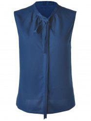 Stylish Women's Deep Blue Bow Collar Sleeveless Blouse -