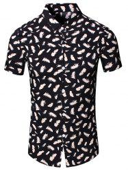 Turn-Down Collar Feather Printed Short Sleeve Shirt For Men