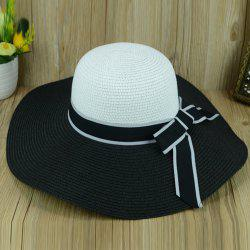 Bowknot Summer Anti-UV Fedora Straw Hat - WHITE AND BLACK