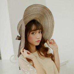 Chic Bow Lace-Up Wide Brim Hot Summer Anti-UV Striped Straw Hat For Women -