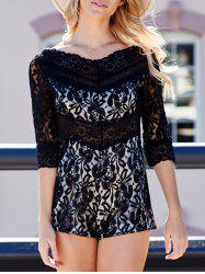 V-Neck See-Through 3/4 Sleeve Lace Short Romper