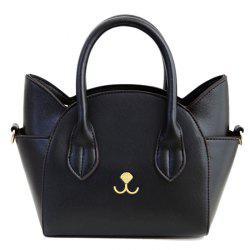 Cute Cat Shape and Solid Color Design Tote Bag For Women - BLACK