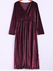Elegant V-Neck Long Sleeve Maxi Velvet Dress For Women -