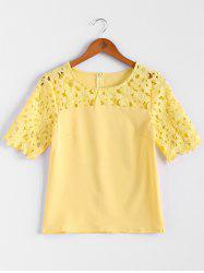 Stylish Jewel Neck Crochet Flower Hollow Out Splicing Solid Color Women's Blouse
