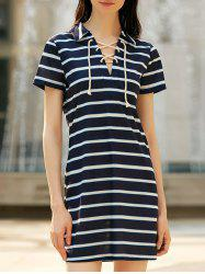 Preppy Style Lace-Up Short Sleeve Striped Dress For Women