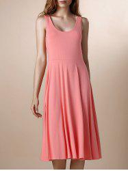 U Neck Mid Calf Bridesmaid Summer Dress