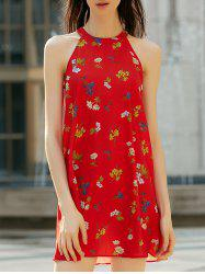 Stylish High Neck Sleeveless Floral Print Cut Out Dress For Women -