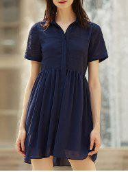 Stylish Turn-Down Collar Short Sleeve Chiffon Shirt Dress For Women