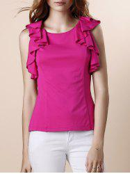 Sweet Round Neck Ruffles Sleeveless Blouse For Women