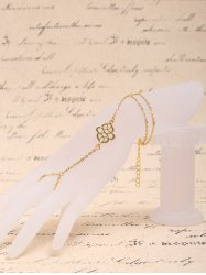 Sweet Solid Color Double-Layered Bracelet With Ring For Women - GOLDEN