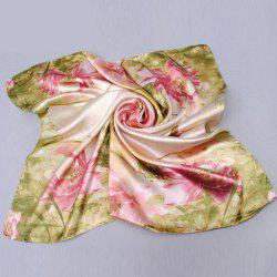 Chic Lotus and Bird Pattern Square Scarf For Women -