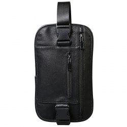 Stylish Black Color and Zip Design Messenger Bag For Men -
