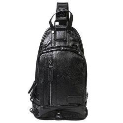 Trendy Zip and Stitching Design Messenger Bag For Men - BLACK