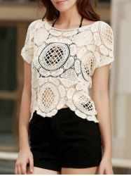 Fashionable Short Sleeve Crochet Hollow Out Knitting Cover-Up For Women
