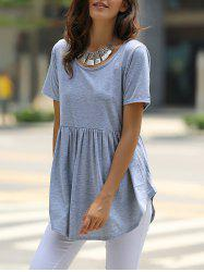 Stylish Scoop Neck Solid Color Short Sleeve Mini Dress For Women