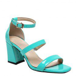 Simple Chunky Heel and Patent Leather Design Sandals For Women -
