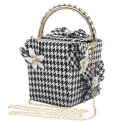 Chic Flower and Houndstooth Design Evening Bag For Women -