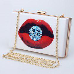 Stylish Chain and Print Design Evening Bag For Women -